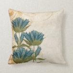 Blue Flowers Vintage Wedding Throw Pillows