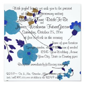 Blue Flowers Wedding and Reception Card