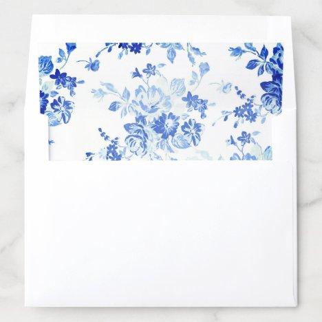 Blue Flowers Wedding Envelope Liner