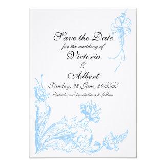 Blue Flowers Wedding Invitation