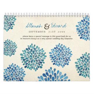 Blue Flowers Wedding Personalized Photo Guest Book Calendar