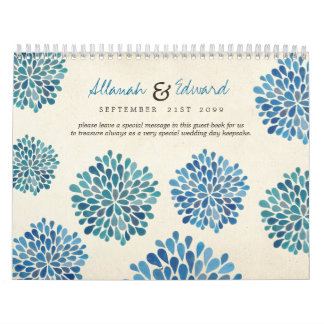 Blue Flowers Wedding Personalized Photo Guest Book Calendar