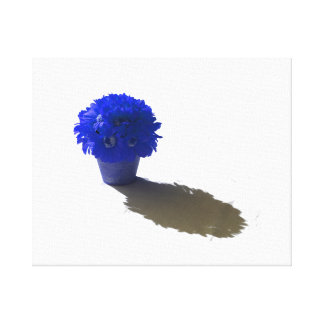 Blue Flowers White Bucket and Shadow Canvas Print