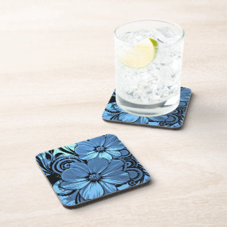 blue flowers with black lines vector art drink coaster