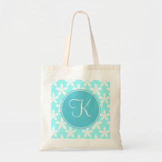 Blue Flowers with Blue Monogram Budget Tote Bag