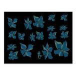 Blue Flowers With Mermaid Postcard