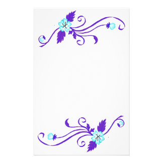 Blue Flowers with Purple Vine Stationery