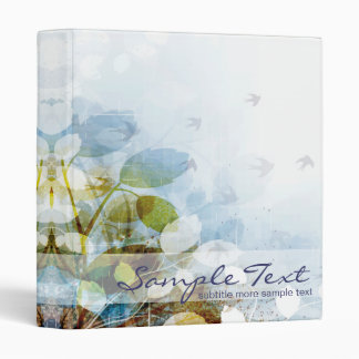 Blue Flowers with Tiny Birds 3 Ring Binder