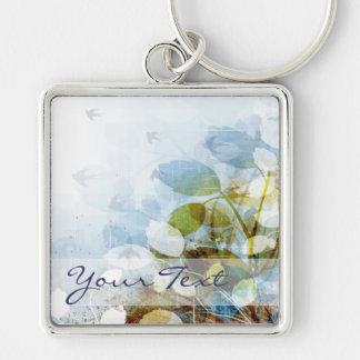 Blue Flowers with Tiny Birds Keychain