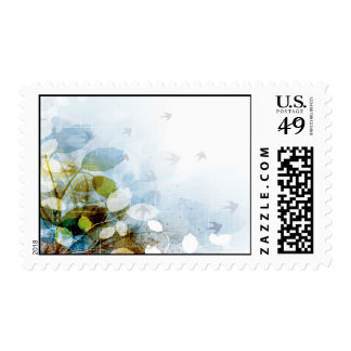 Blue Flowers with Tiny Birds Postage Stamp