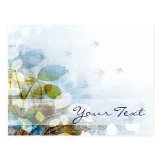 Blue Flowers with Tiny Birds Postcard