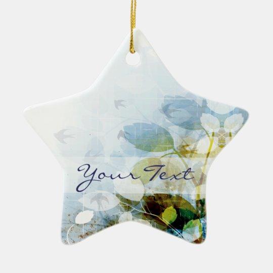 Blue Flowers with Tiny Birds Star Ceramic Ornament