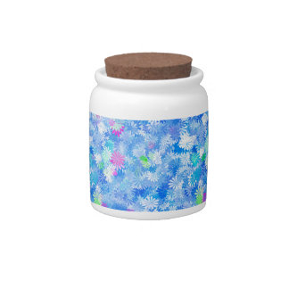 Blue Flowery Background Candy Dish