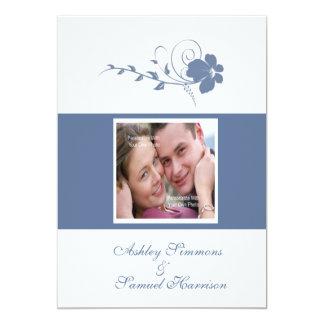 Blue Flowing Flower Photo 5x7 Wedding Invitation