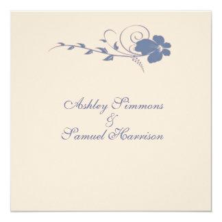Blue Flowing Flower Wedding Invitation