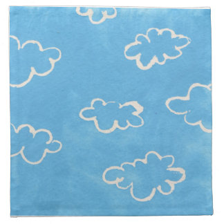 Blue Fluffy Clouds Baby Boy Shower Napkins