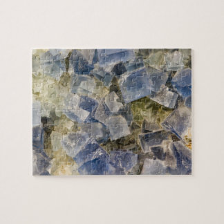 Blue Fluorite Crystals in Matrix Jigsaw Puzzle