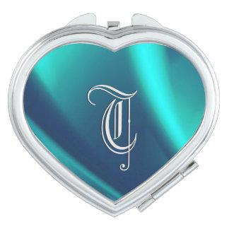 Blue Flush Silver Monogram Compact Mirror