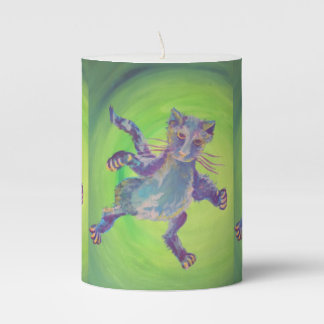 blue flying cat on green candle