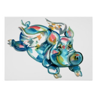 Blue Flying Pig Angel Posters