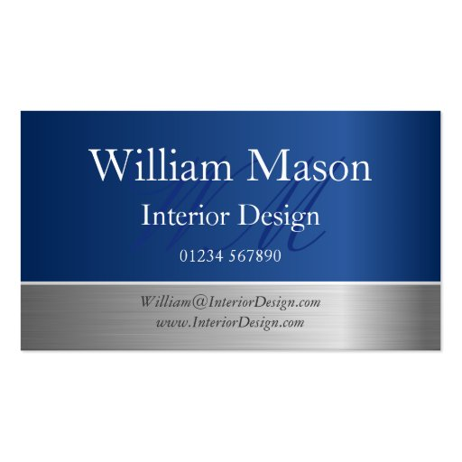 Blue Foil and Steel Effect Monogram Business Card Business Cards