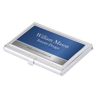 Blue Foil and Steel, Monogram Business Card Holder