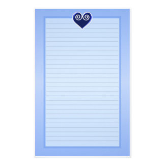 Blue Foil Heart Lined Stationery