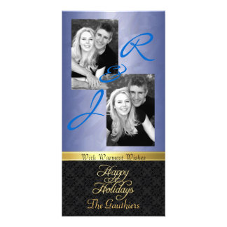 Blue Foil Lace Holiday Gold Ribbon Photo Card