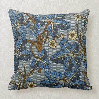Blue Foilage Pattern Pillow