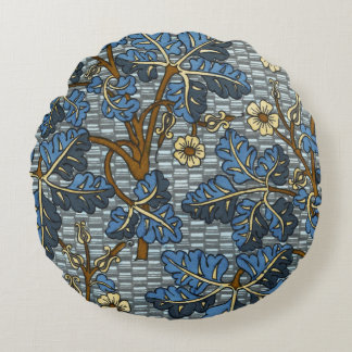 Blue Foilage Pattern Round Pillow