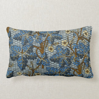 Blue Foilage Pattern Throw Pillows