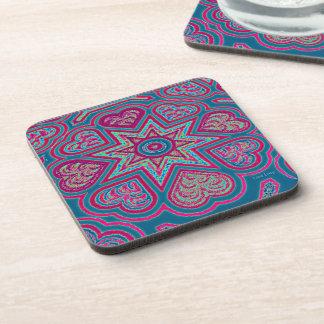 Blue Folk Art Hearts Coasters
