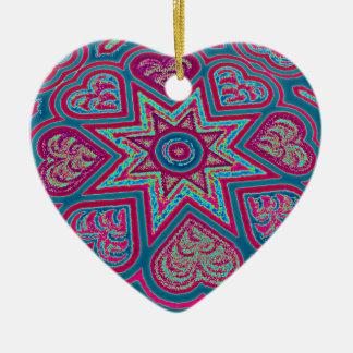 Blue Folk Art Hearts Ornament