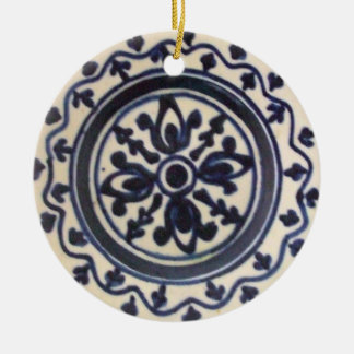 Blue Folk Art Plate Double-Sided Ceramic Round Christmas Ornament