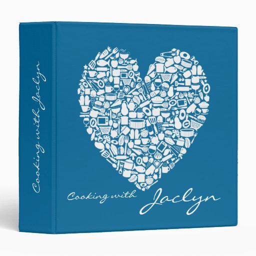 Blue Food Heart Recipe Personalized Name Binder