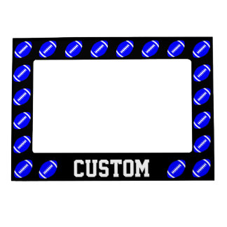 Blue Football Custom Team Name or Text Magnetic Magnetic Photo Frame