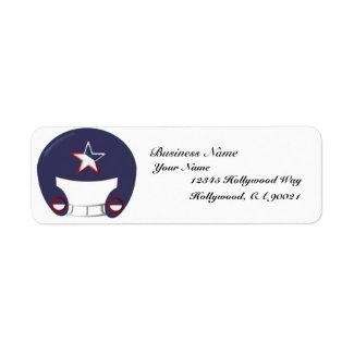 Blue Football Helmet Business Address Label label