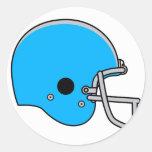 blue football helmet classic round sticker