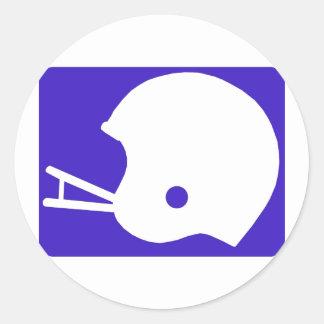 Blue Football Helmet Logo Classic Round Sticker
