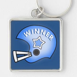 blue football helmet with star winner keychain