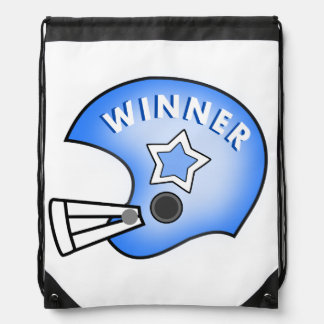 blue football helmet with winner and star backpack
