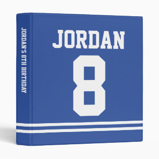 Blue Football Jersey - Sports Theme Birthday Party Binder