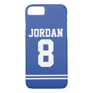 Blue Football Jersey with Number iPhone 8/7 Case