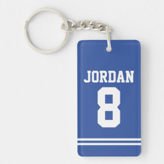 Blue Football Jersey with Number Keychain