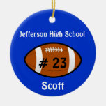 Blue Football Number Ornament at Zazzle