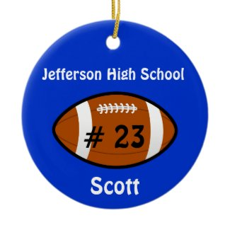 Blue Football Number Ornament