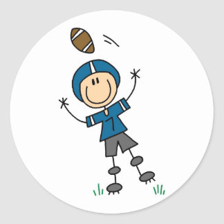 Blue Football Player Tshirts and Gifts Classic Round Sticker