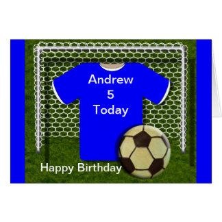Blue Football Soccer Theme Birthday Cards