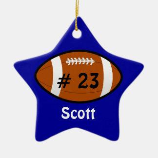 Blue Football Star Ornament