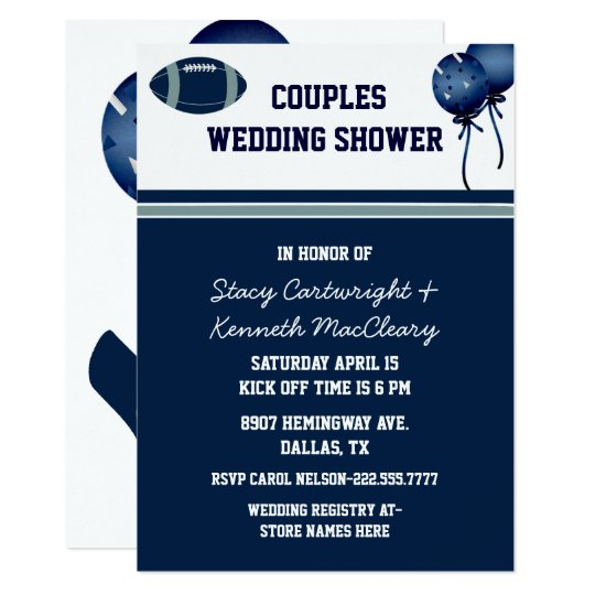 blue football themed wedding shower invitation